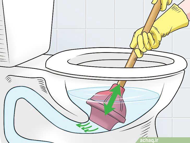 رفع گرفتگی توالت فرنگی به روش خانگی با چاه باز کن تلمبه ای